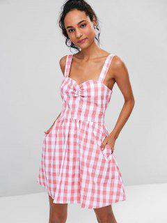 Ruched Front Gingham Skater Dress - Pink M