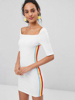 Stripes Panel Ribbed Bodycon Dress - White S