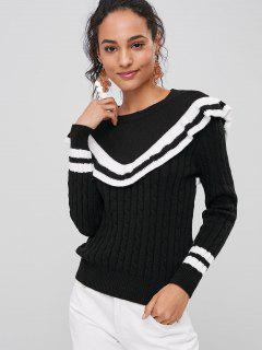 Contrasting Ruffles Sweater - Black