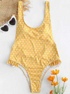 Polka Dot Ruffle Backless Swimsuit - Rubber Ducky Yellow L