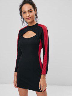Two Tone Keyhole Dress - Black L