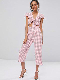 Tie Front Gingham Top And Pants Set - Pink Daisy L