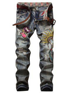 Vintage Embroidery Applique Ripped Jeans - Mist Blue 32