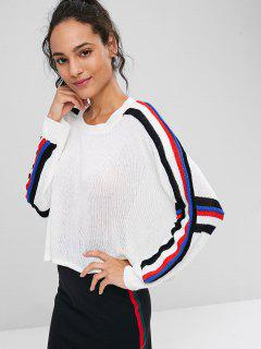 Stripes Panel Cropped Sweater - White