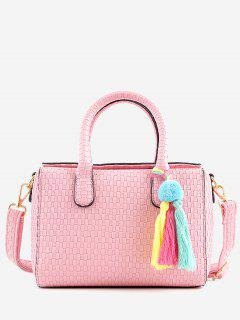 Retro All Purpose Tassels Braid Handbag With Strap - Pink