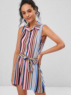Striped Sleeveless Shirt Dress - Multi L