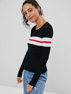 Stripes Panel Pullover Sweater - Black