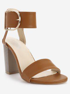 High Heel Chic Ankle Strap Buckled Sandals - Light Brown 38