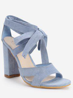 Crisscross Block Heel Ankle Strap Lace Up Sandals - Light Blue 40
