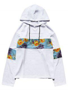 Floral Print Patchwork Hoodie - White M