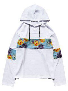 Floral Print Patchwork Hoodie - White 2xl