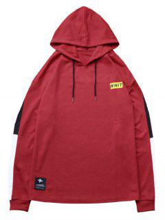 Contrast Sideblock Patch Detail Hoodie - Chestnut Red S