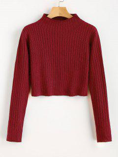 Mock Neck Ribbed Sweater - Love Red L