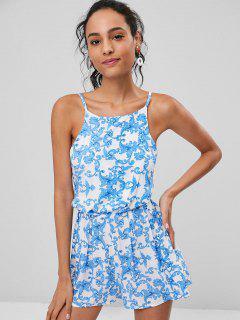Cami Knotted Printed Romper - Cornflower Blue L