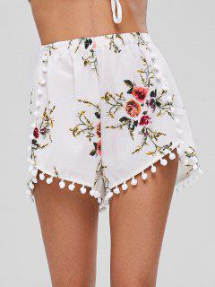 Floral Print Pompoms Shorts - White S