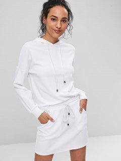 Drop Shoulder Hoodie And Mini Skirt Set - White M