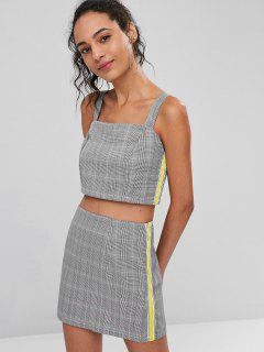 Striped Patched Plaid Skirt Set - Black L