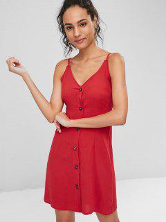 Contrast Button Front Cami Mini Dress - Red M