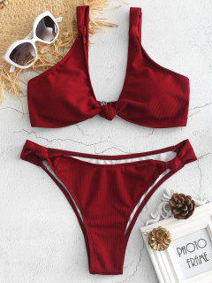 Strick Geripptes Bikini Set - Roter Wein L