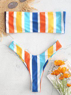 Buntes Streifen Bandeau Bikini Set - Multi L