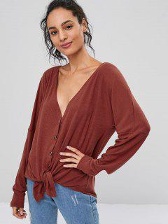 Button Up V Neck Cardigan - Chestnut S
