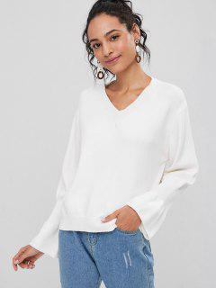 Ruffled Sleeve V Neck Sweater - White