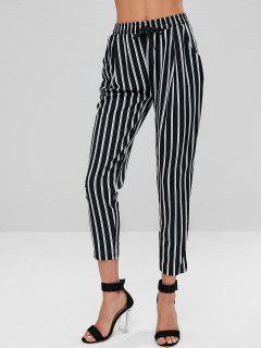 Striped High Rise Pants - Multi-a M