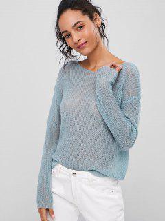 Loser Einfacher Pullover - Cyan Opak L
