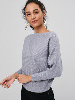 Ribbed Dolman Sleeve Sweater - Gray