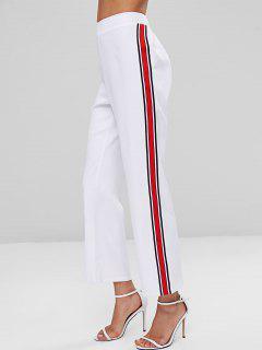 Pantalones De Cintura Alta Con Parche A Rayas - Blanco M