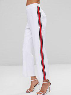 Striped Patched High Waist Pants - White L
