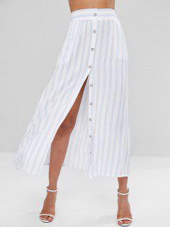 Falda A Rayas Con Botones - Blanco S