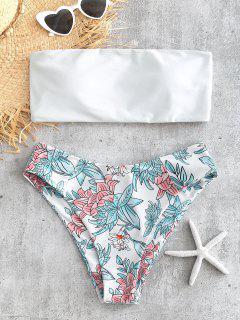 Bandeau Floral Print Bikini Set - White M