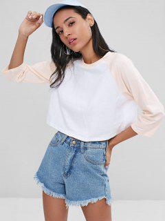 Two Tone Raglan Sleeve Top - White S