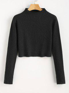Mock Neck Ribbed Sweater - Black L