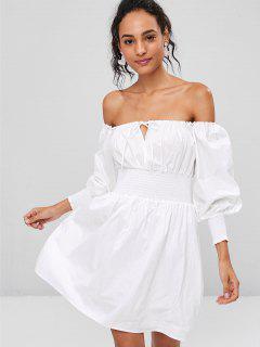 Robe Chemise Froncée Et à Epaules Dénudées  - Blanc M