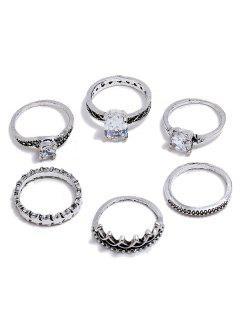 Ensemble De Bagues En Faux Diamant Décorées 6 Pièces - Argent Ensemble D'anneaux