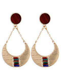 Crescent Moon Design Drop Earrings - Gold