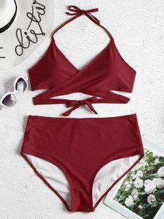Plus Size High Rise Wrap Bikini Set - Firebrick 2x