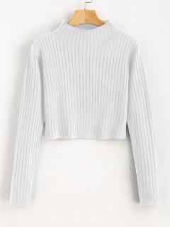Mock Neck Ribbed Sweater - White L