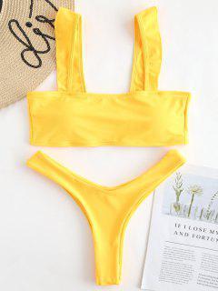 Rüschen High Leg Bikini Set - Niedliches Gummi Gelb S