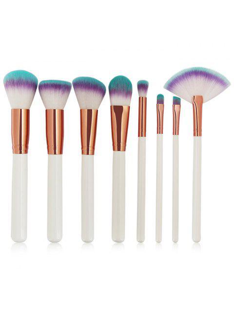 hot Three Tones Bristles Makeup Brush Set 8Pcs - WHITE  Mobile
