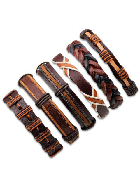 unique Vintage Artificial Leather Woven Friendship Bracelets Set - BROWN  Mobile