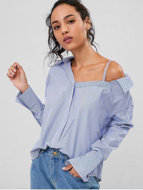 womens Cold-shoulder Striped Shirt - BLUEBERRY BLUE M Mobile