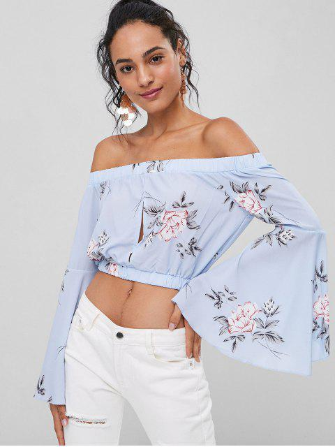 womens Floral Bell Sleeve Off The Shoulder Top - SEA BLUE M Mobile
