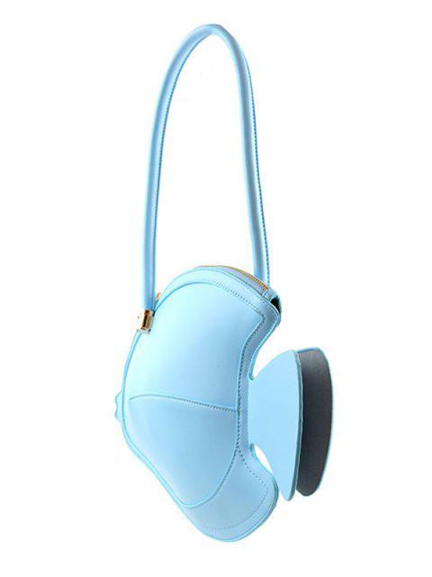 Sac à Main Chic Minimaliste Motif de Poisson en Faux Cuir - Bleu Ciel  Mobile