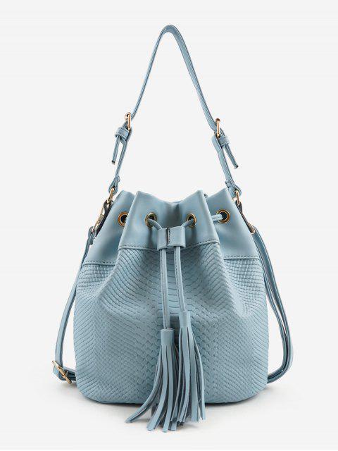 latest Embossing Minimalist Tassels Decoration Shoulder Bag - BLUE  Mobile