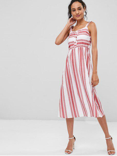 sale Striped Tie Shoulder Midi Dress - MULTI M Mobile