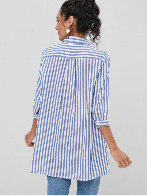 hot Side Slit Chest Pockets Striped Shirt - BLUE L Mobile