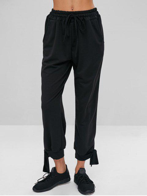 women's Drawstring Waist Knotted Pants - BLACK L Mobile